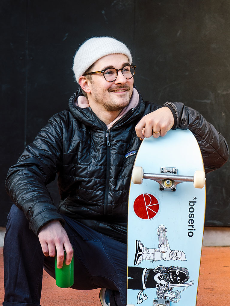 One of the people (skater) showing on our Austrian programme's campaign about can recycling no matter what