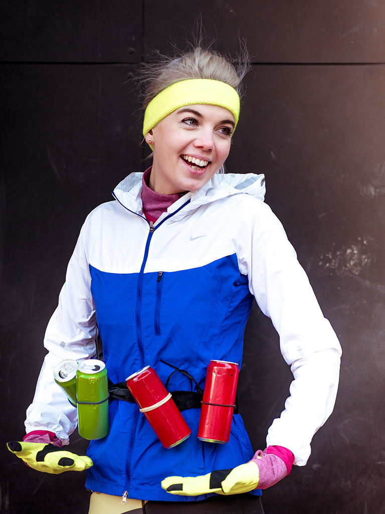 One of the people (fit girl) showing on our Austrian programme's campaign about can recycling no matter what