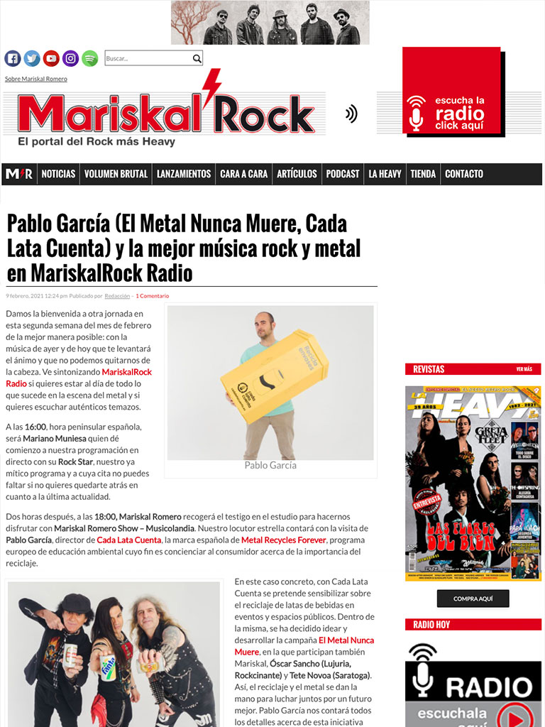 METAL NEVER DIES Campaign As seen in the Press (Spanish) 1