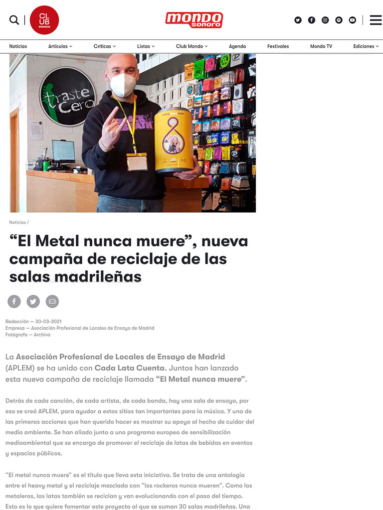 METAL NEVER DIES Campaign As seen in the Press (Spanish) 2